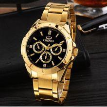 df0a4df22 ساعات رجالية فريدة من نوعها الأعمال ساعة اليد للرجل على مدار الساعة الذهبية  للماء الأسود