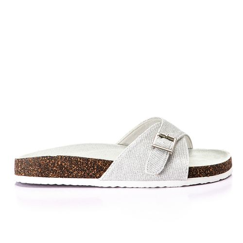 Glittery Canvas With Side Buckle Slippers - Silver