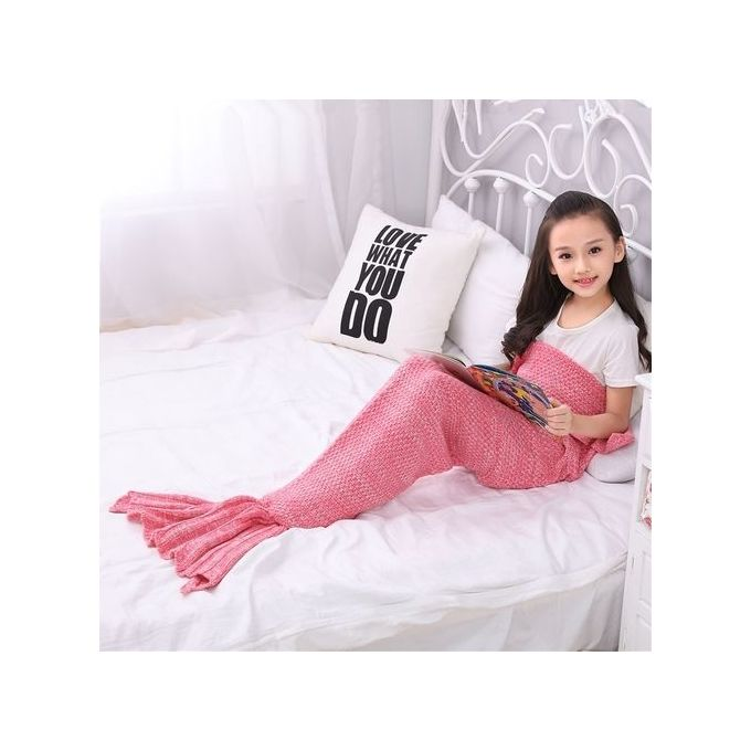 Children Soft Warm Knit Mermaid Tail Blanket Sleeping Bag 70*140cm Color:Pink –  مصر