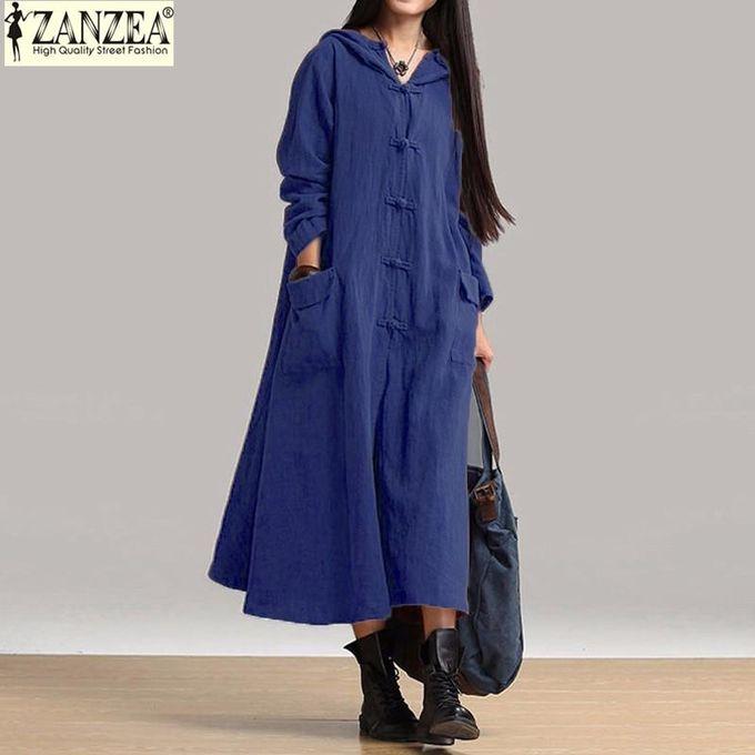 1b1e43cc3d ZANZEA Women Maxi Dress Autumn Vintage Casual Loose Long Dresses Ladies V  Neck Long Sleeve Hooded