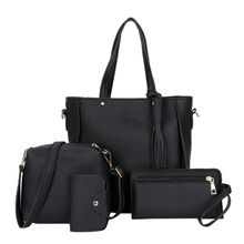 a122eeed15f39 4 Pieces set Fashion Tassels Handbag Shoulder Bag Crossbody Bag Black