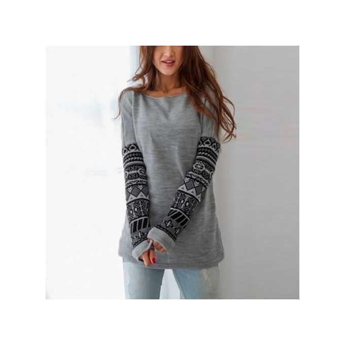 ZANZEA Womens Cotton Tops Pullover Long Sleeve Casual Blouse Sweater Shirt  Jumper Grey 20feb1abfb