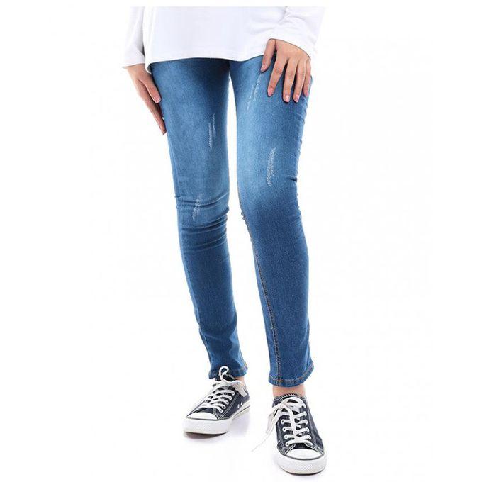 fc2d87338 بنطلون جينز حريمى هاى وست مخربش - ازرق - Jumia مصر