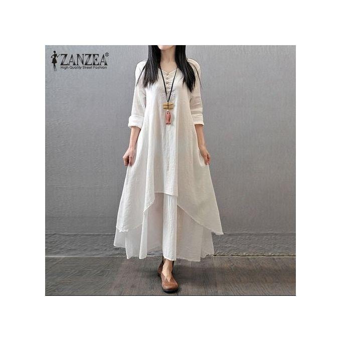 312073a9fd ZANZEA Boho Long Maxi Dress Women Casual Solid Cotton Linen Vestidos Plus  Size Elegant Loose Full