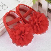 8884c5e52 Toddler Kid Baby Girl Chiffon Flower Elastic Band Newborn Walking Shoes RD  11 -Red