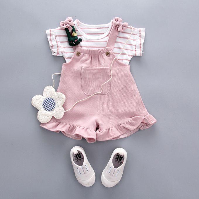 ece48b902 ... الاطفال اطفال بنات الصيف مخطط قصيرة الأكمام قميص + الحمالات السراويل  مجموعة ...