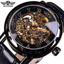 6b40ab250c5 Winner Black Gold Male Clock Men Relogios Skeleton Mens Watches Top Brand  Luxury Montre Leather Wristwatch