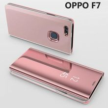 Luxury Mirror Clear View Smart Flip Case For OPPO F7 Leather Cover Case Housing