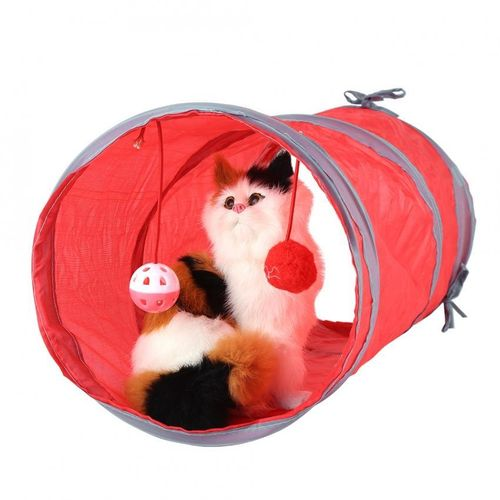 2 Colors Cat Tunnel Toy Kitten Playing Tube Pet Toys With Tinkle Bell & Plush Ball