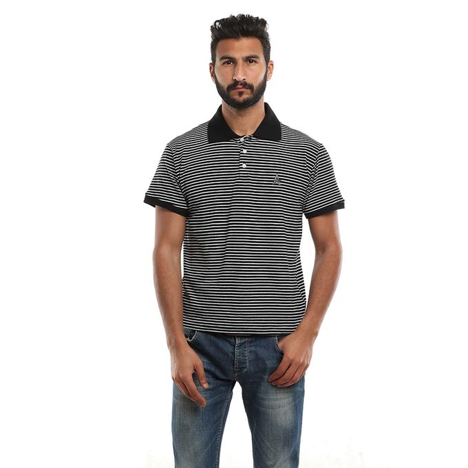 Sale on Thin Striped Polo Shirt - Black  b3a6523206cd