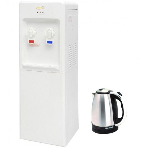 Water Dispenser Hot And Cold - White + Kettle Stainless Steel - 1500 Watt - 1.5 Liters