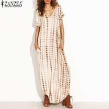 82c4ca5ec5ab ZANZEA Plus Size S-5XL Summer Women Dresses Dye Print Side Split Loose Long  Dress