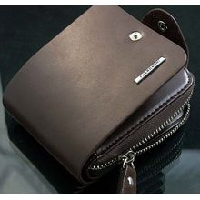 1f6626744e5e4 Tectores Fashion Mens Leather ID Card Holder Billfold Zip Purse Wallet  Handbag Clutch Gift