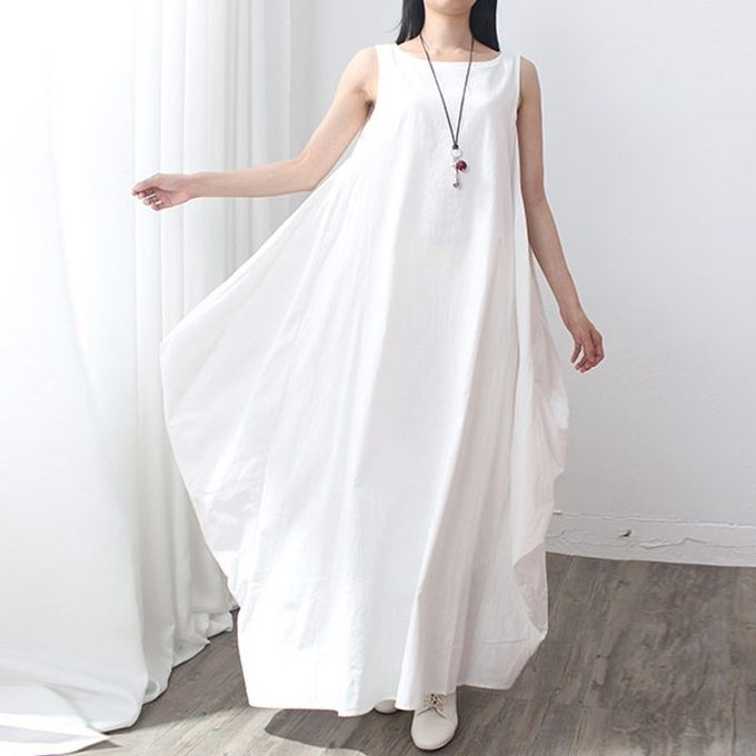 78877b7348 ZANZEA Fashion Womens Cotton+Linen Dress Casual Loose Long Maxi Elegant  Vestidos Plus Size Chinese