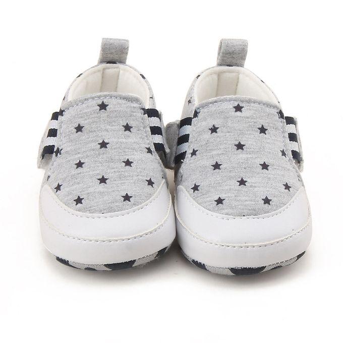 2584e1c8fab26 Newborn Infant Baby Girl Boy Print Crib Shoes Soft Sole Anti-slip Sneakers  Shoes -Gray