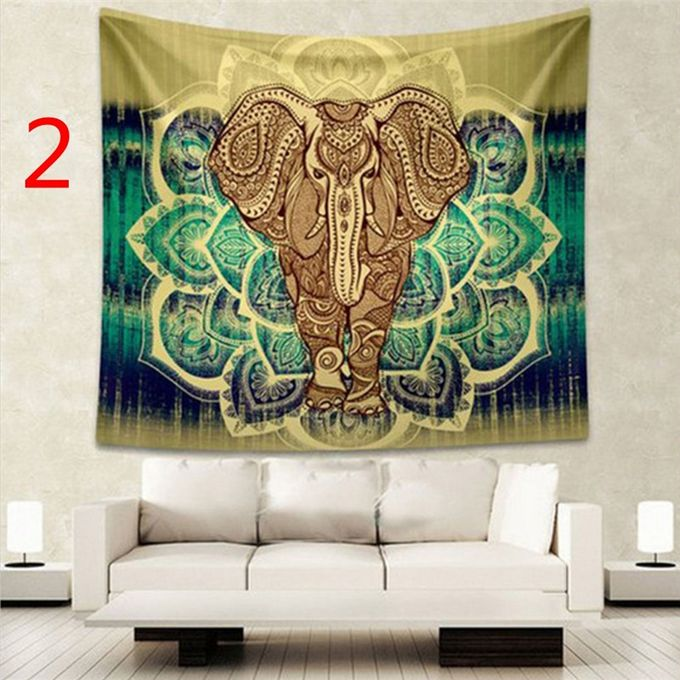 Indian Decor Mandala Tapestry Wall Hanging Hippie Throw Bohemian Dorm Bedspread Table Cloth Curtain Style Yellow Elephant –  مصر
