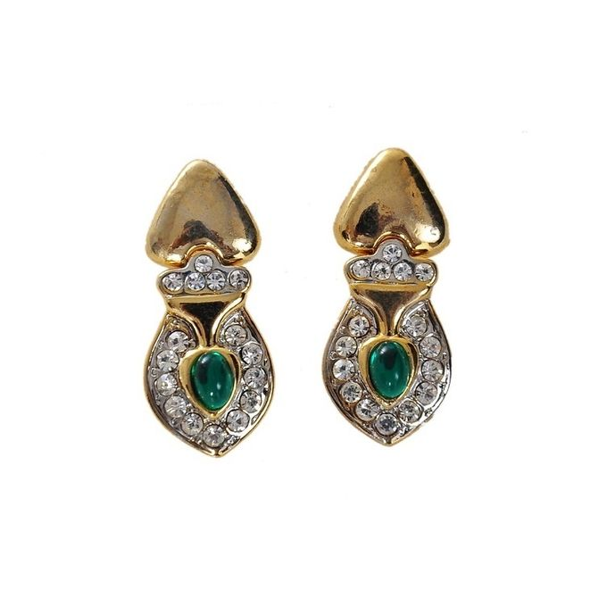 Dangle Thai Earrings Decorated With A Green Stone And Silver Crystal Stones For Women