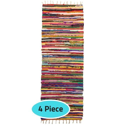 KIRGRE70-4 Cotton Carpet Kilim Rug - 70 X 185 Cm - 4 Pcs