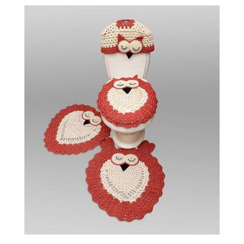 Bdaya Handmade Crochet Bathroom Accessories Set 4 Pcs Orange