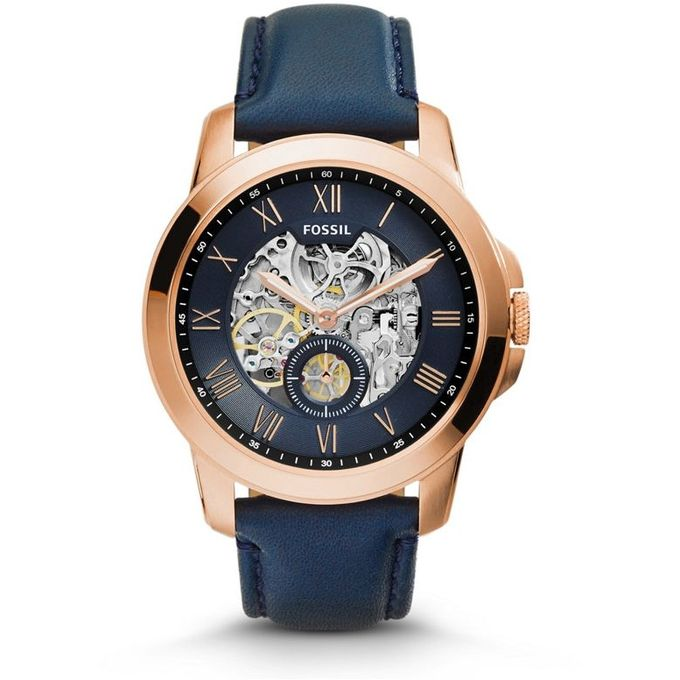 Fossil Grant For Men Blue Dial Leather Band Automatic Watch – ME3054 –  مصر