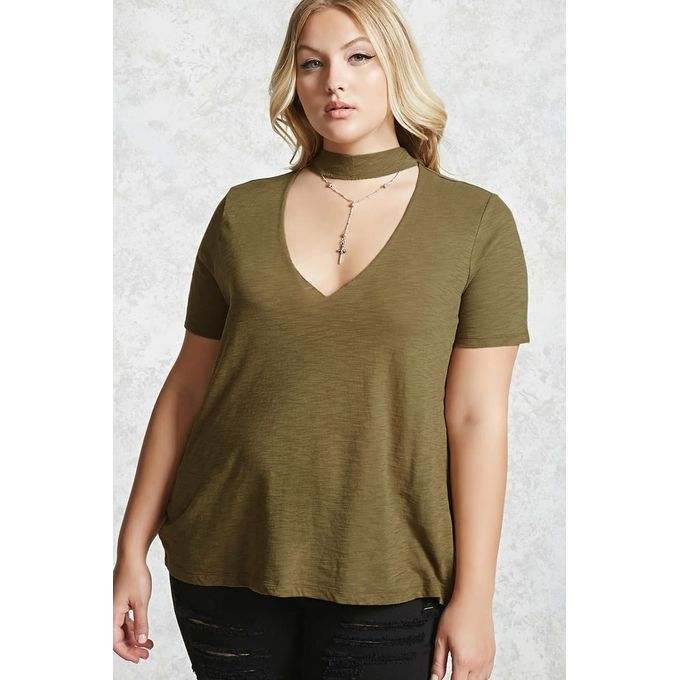 Plus Size Choker Neck Cut-Out Sweater