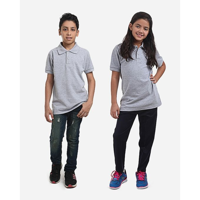 Andora Bundle Of 2 Unisex Half Sleeves School Polo Shirt - Heather Grey