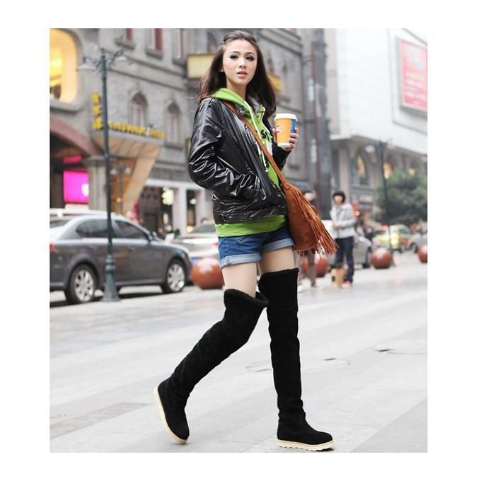 05c8b429281 Sexy Women s Over Knee Thigh High Snow Boots Girl s Winter Booties Flat  Shoes