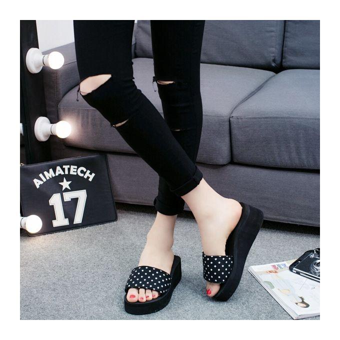 Women's Summer Soft Beach Slippers High-heeled Flip-flops-black