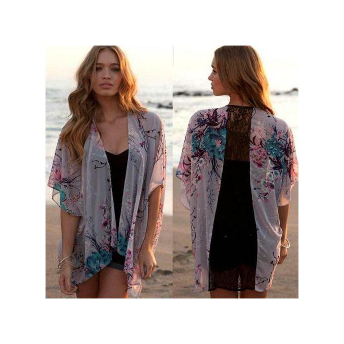 a7547c2bf Hiamok Women Floral Short Sleeve Lace Splice Chiffon Kimono Cardigan Tops  Blouse M