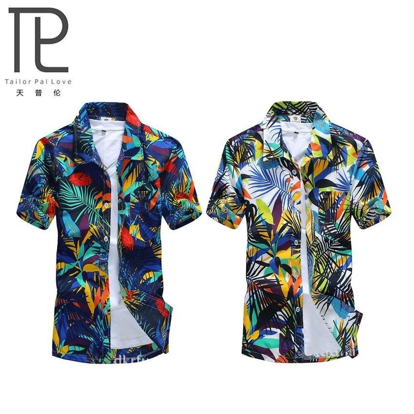 fd79e3698c69 Allwin Mens Hawaiian Shirt Quick Dry Printed Beach Shirts Short Sleeve  Loose-blue