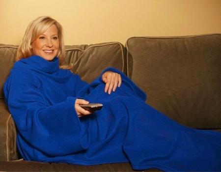 سوبر سوفت بطانية من الصوف مع اكمام، ازرق