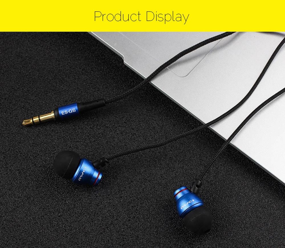 AWEI ES - Q6 3.5MM Plug Stereo Music Earphones Headphones