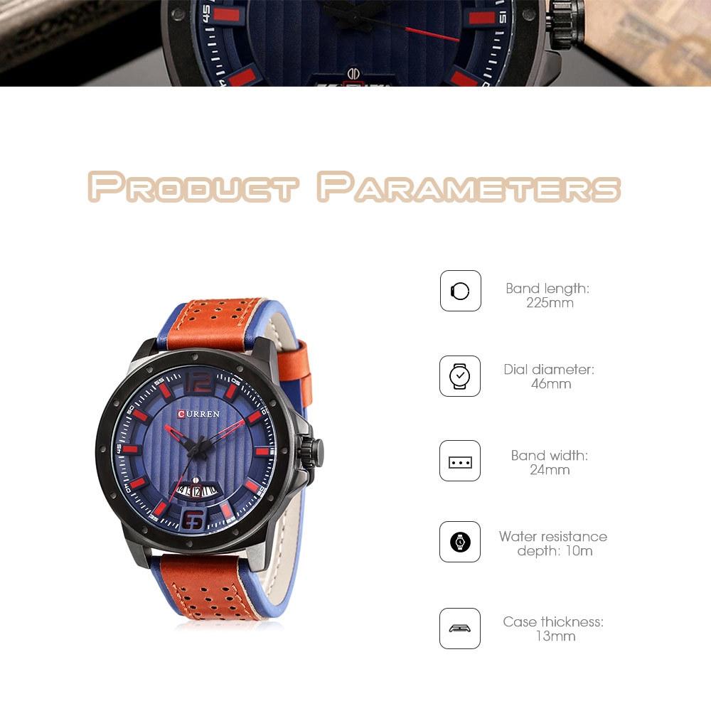 Curren 8293 Male Quartz Watch Calendar Men Wristwatch