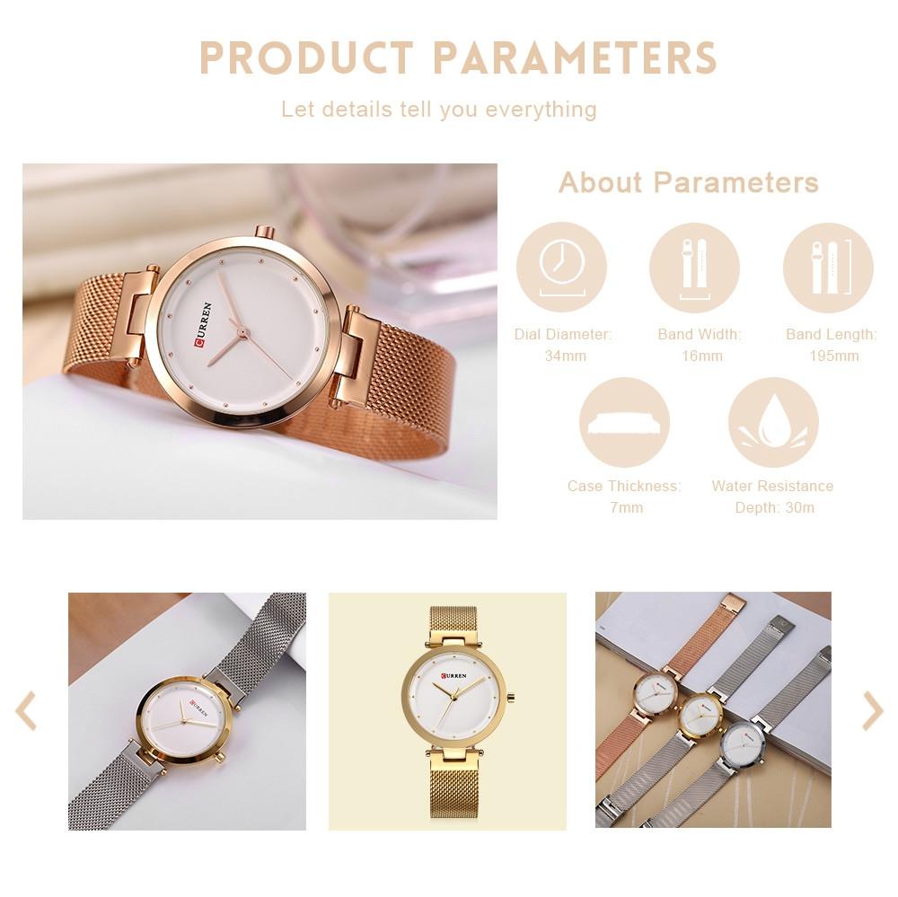 Curren 9005 Women Quartz Watch Ultra-thin Dial Stainless Steel Net Band Female Wristwatch
