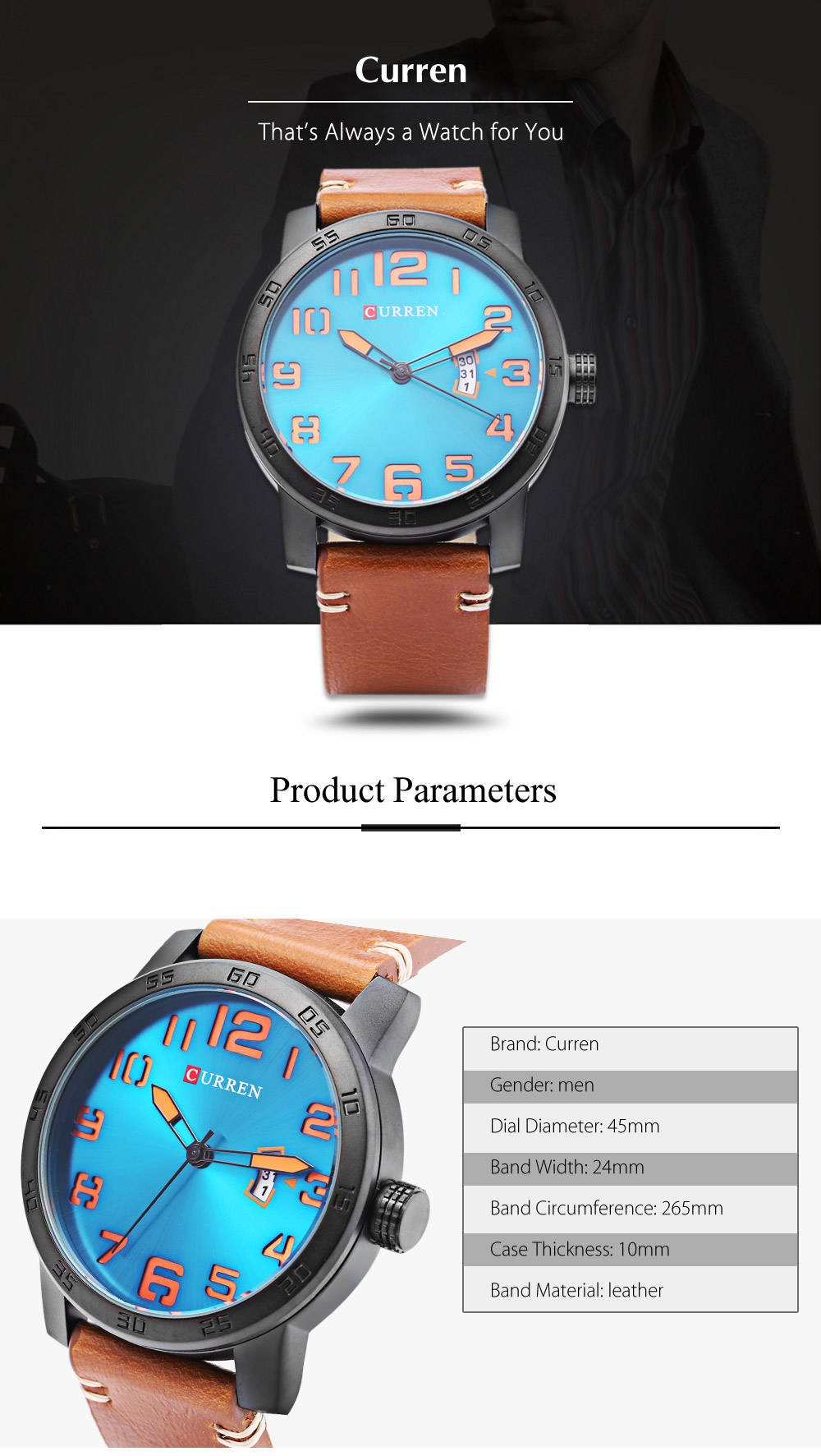 Curren 8254 Male Quartz Watch Calendar Leather Band Men Wristwatch