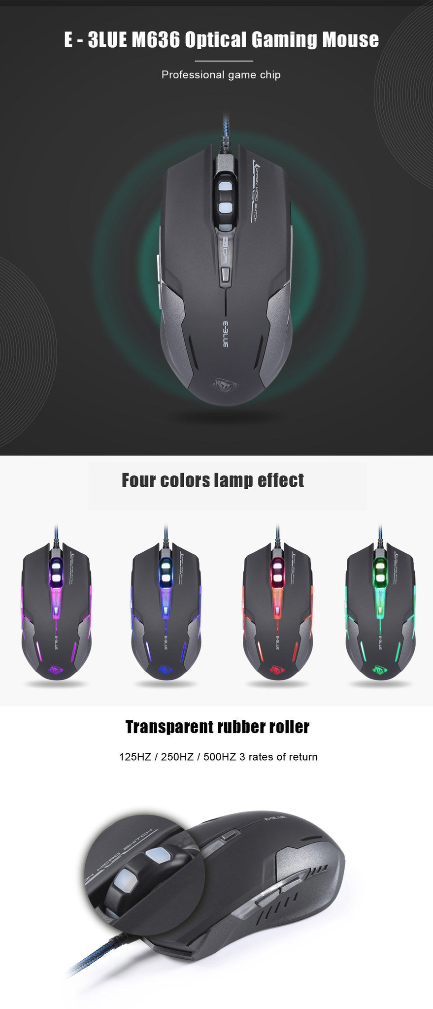 E - 3LUE M636 Optical Gaming Mouse with LED Breathing Light