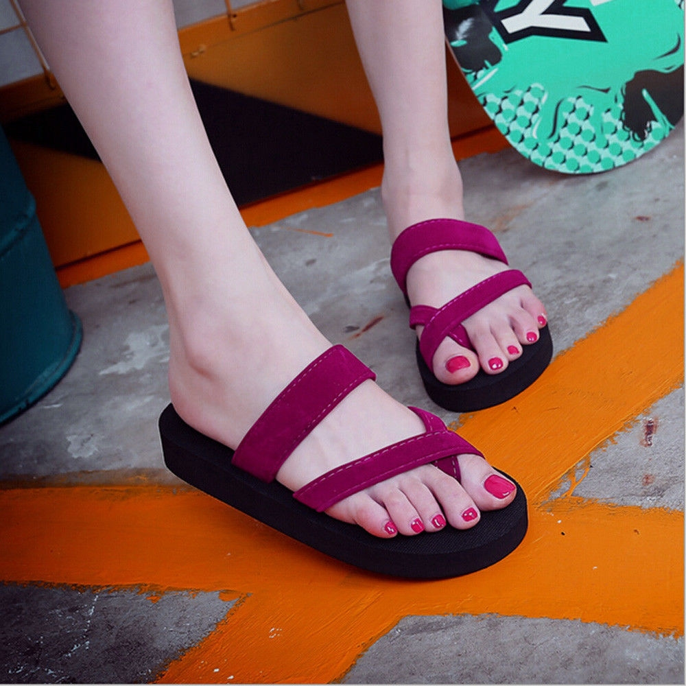 46a312952 Fashion Womens Summer Flip Flops Casual Slippers Flat Sandals Beach Open  Toe Shoes