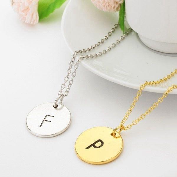Letter Round Pendant Necklace