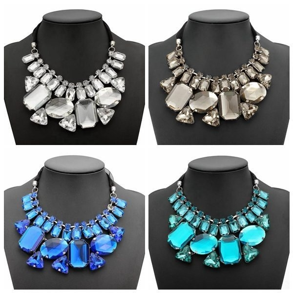 Big Crystal Statement Geometry Necklace