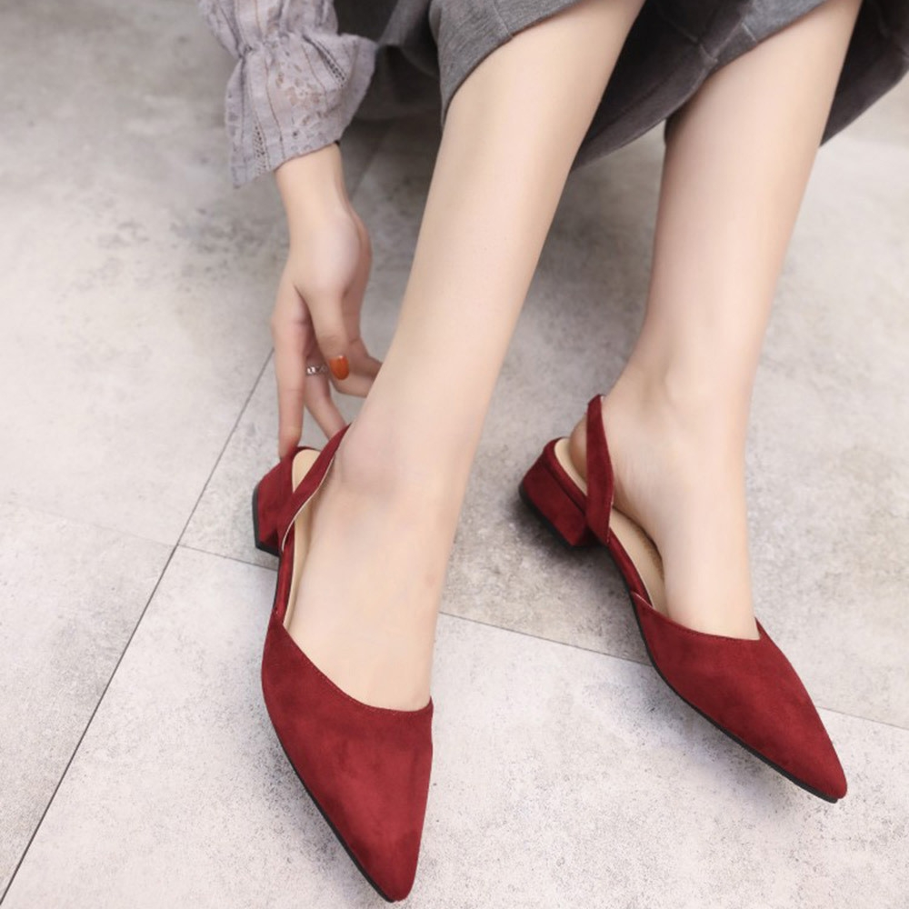 5ce7aff0e6d Fashion Blicool Shoes Women Pumps Ankle Strap Thick Heel Pointed Toe Mid  Heels Comfortable Shoes Wine