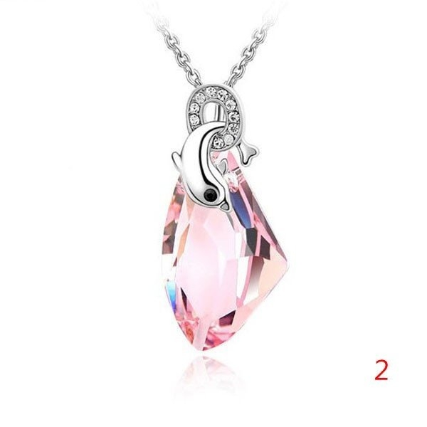 Crystal Dolphin Pendant Necklace