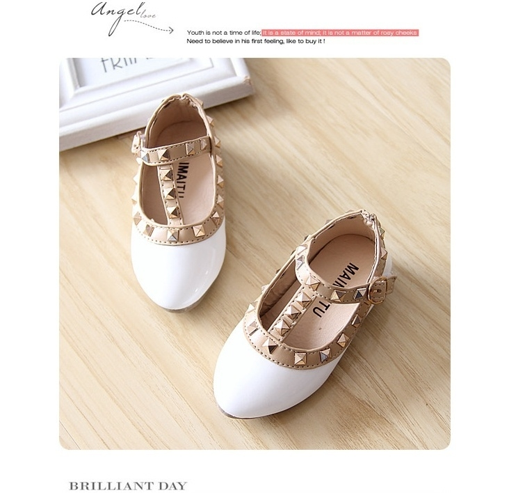 Kids Girls Toddler Sandals Slip On Rivet T-strap Flats Casual Pointed Toe Shoes Kids' Clothing, Shoes & Accs