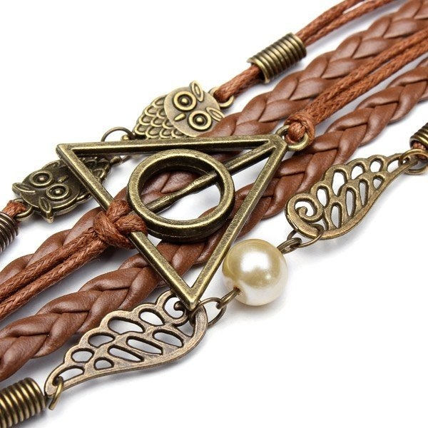 Owl Triangle Leather Bracelet