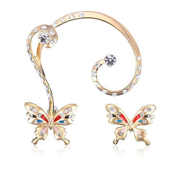Rhinestone Butterfly Ear Clip