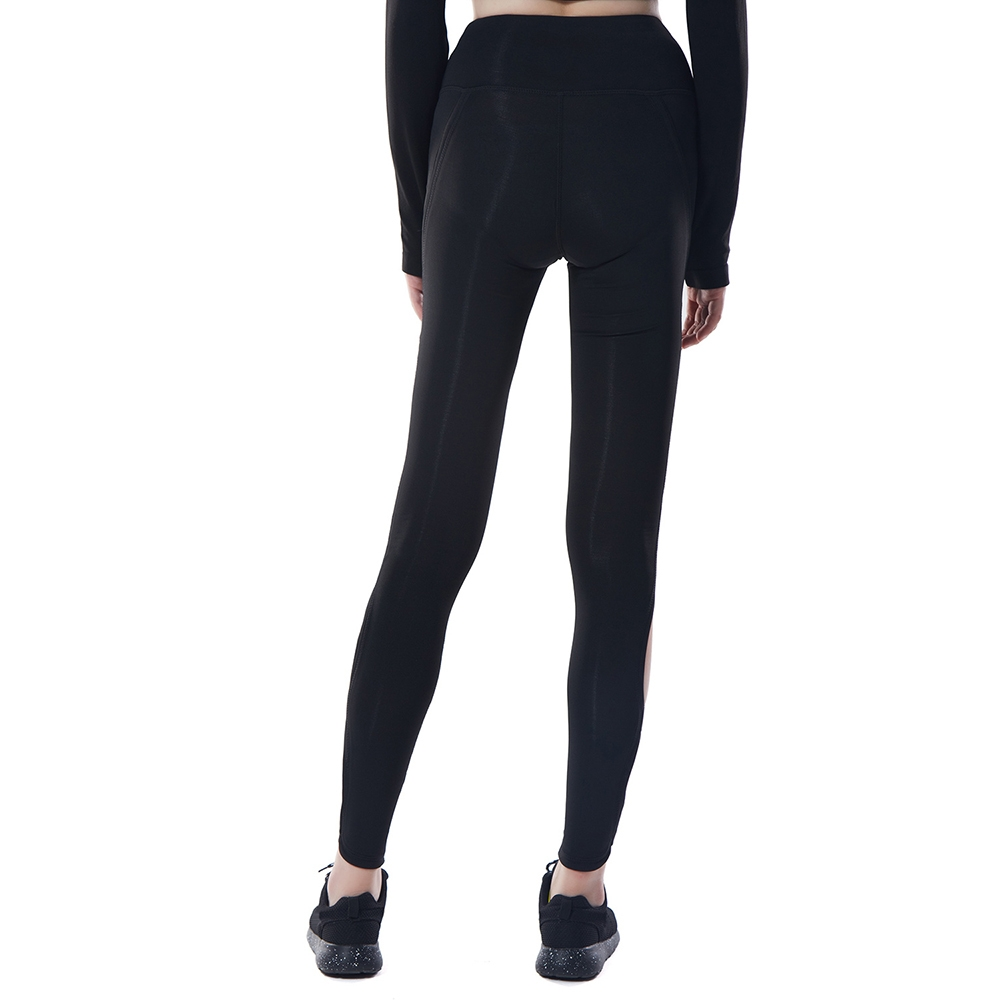 069d068e129f Fashion High Waisted Leggings For Women Stitching Sheer Color Activewear  Pants - Black
