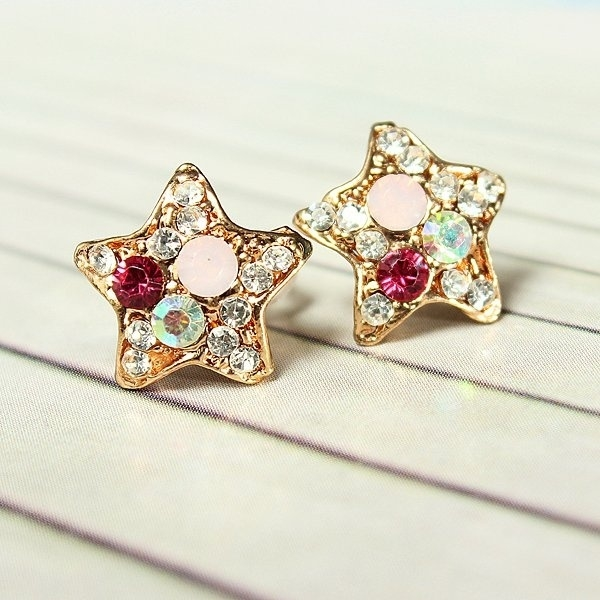 Colorful Rhinestone Starfish Pentagram Earrings