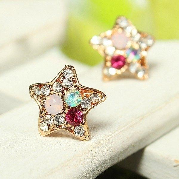Crystal Starfish Pentagram Earrings