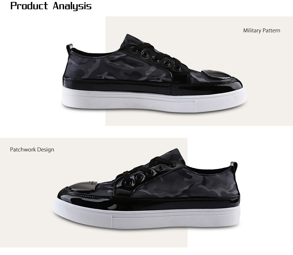 Fashionable Metal Slice Embellishment Patchwork Design Lace Up Sneakers for Men