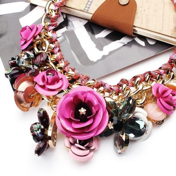 Multicolor Flower Statement Necklace