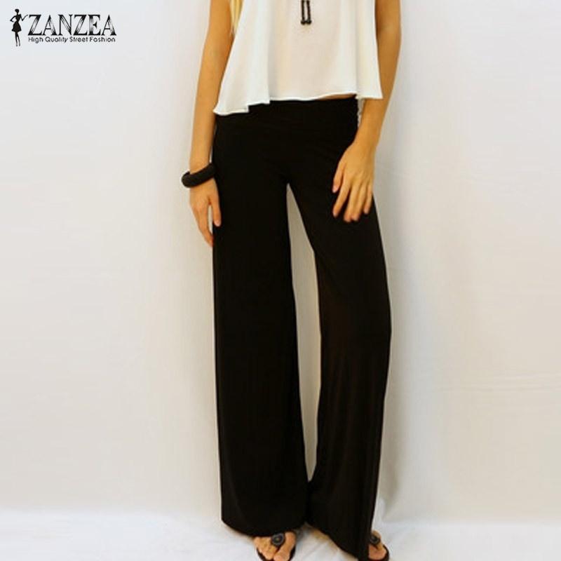 1512e09a244 Fashion ZANZEA New Women Loose Wide Leg Pants Casual Ladies Solid Elastic  Waist Full Length Comfortable Trousers Plus Size Clothing